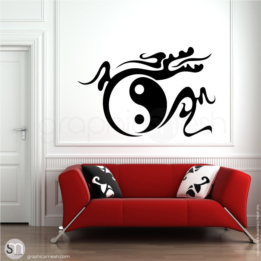 YIN YANG TRIBAL DRAGON - Feng Shui Wall decals black