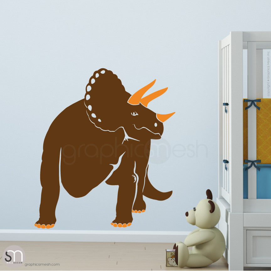 TRICERATOP DINOSAUR - wall decals  Brown and Orange