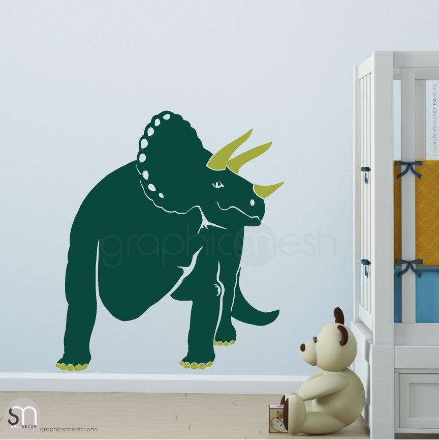TRICERATOP DINOSAUR - wall decals  Dark Green and Olive