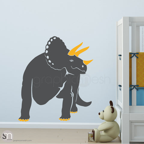 TRICERATOP DINOSAUR - wall decals Grey and Golden Yellow
