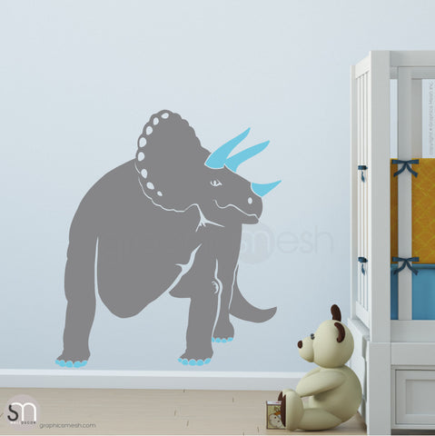 TRICERATOP DINOSAUR - wall decals  Slate and Sea Blue