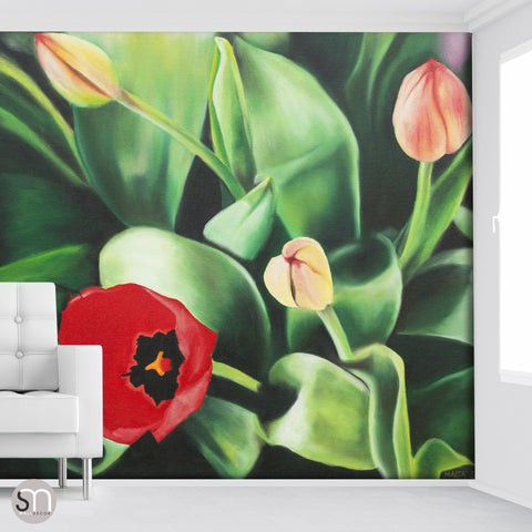 TULIPS PAINTING - Art Wall Mural room