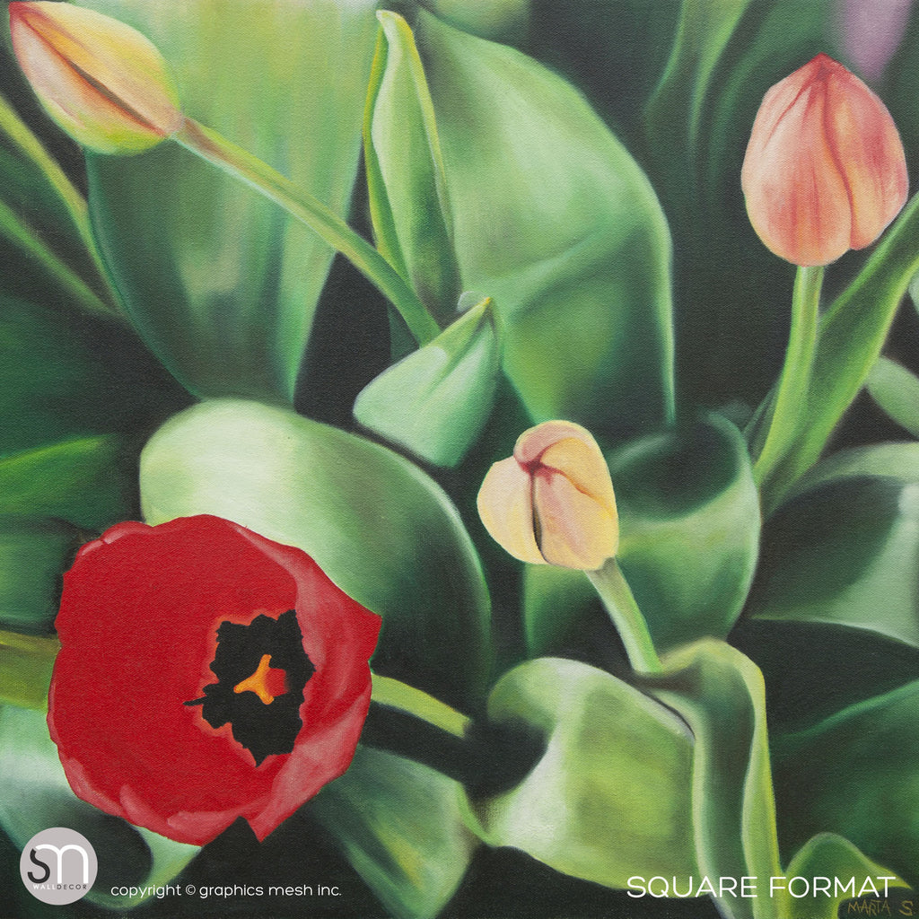 TULIPS PAINTING - Art Wall Mural square format