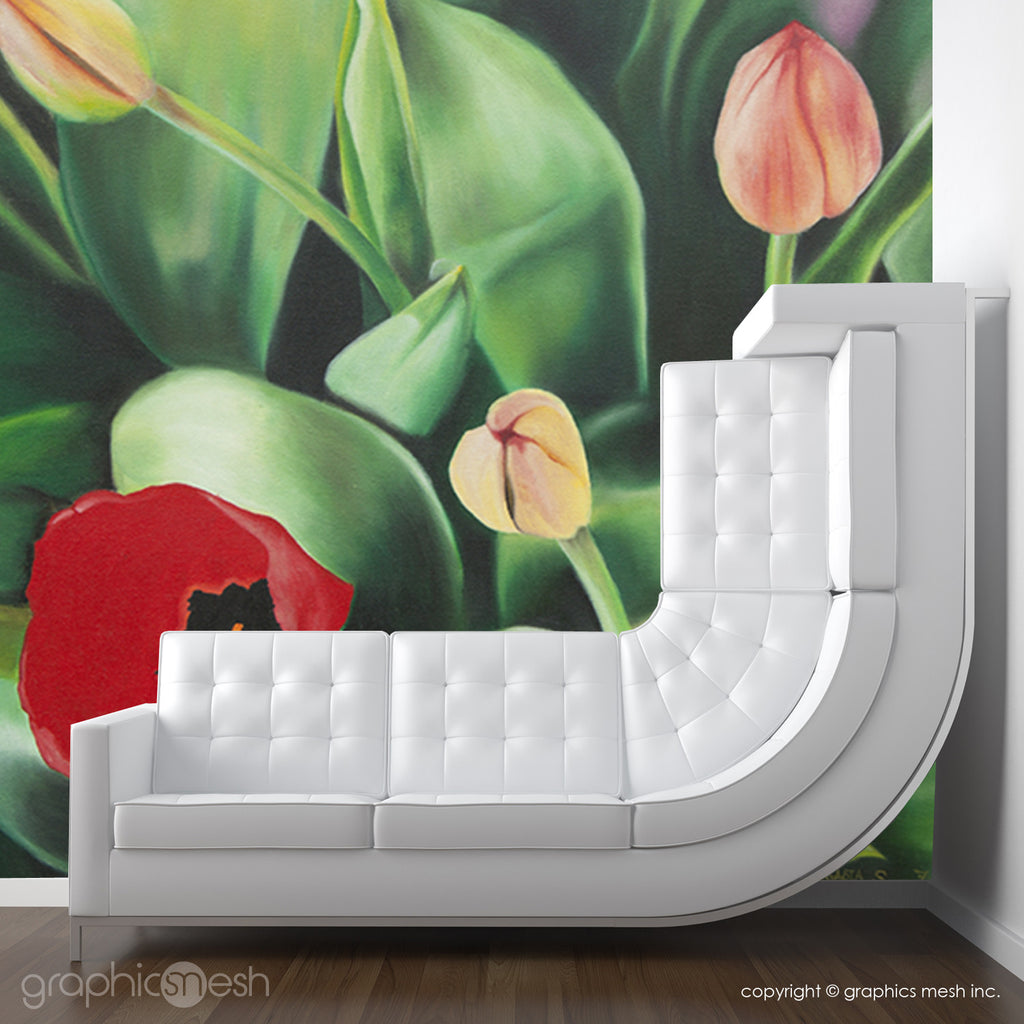 TULIPS PAINTING - Art Wall Mural living room