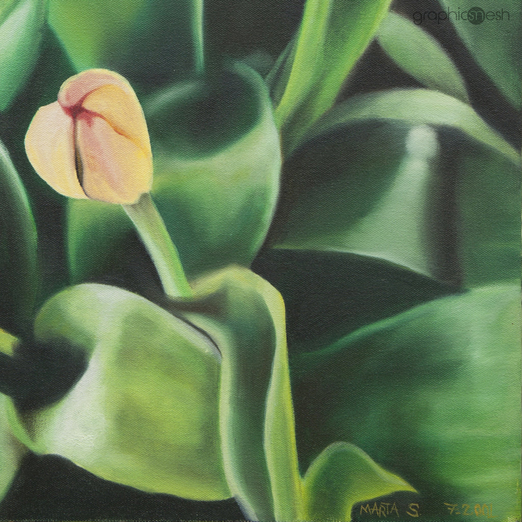 Tulips From My Moms Garden - Original Fine Art Painting - Oil on Canvas