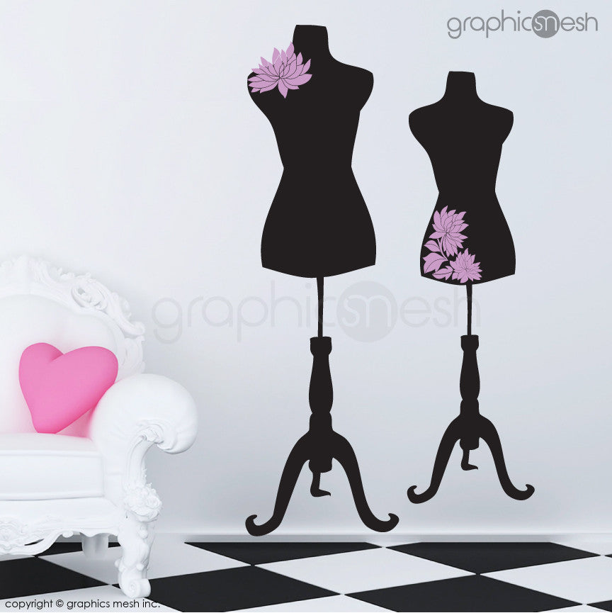 Two Mannequins for tailors with flowers - Dress form wall decals pink