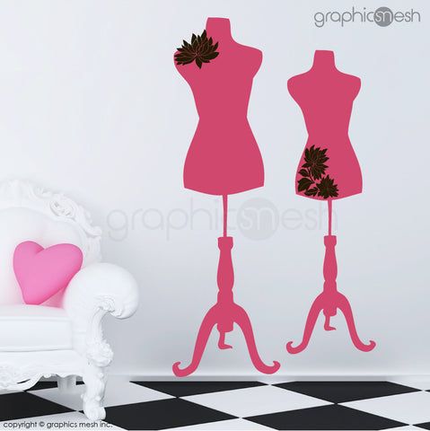 Two Mannequins for tailors with flowers - Dress form wall decals hot pink