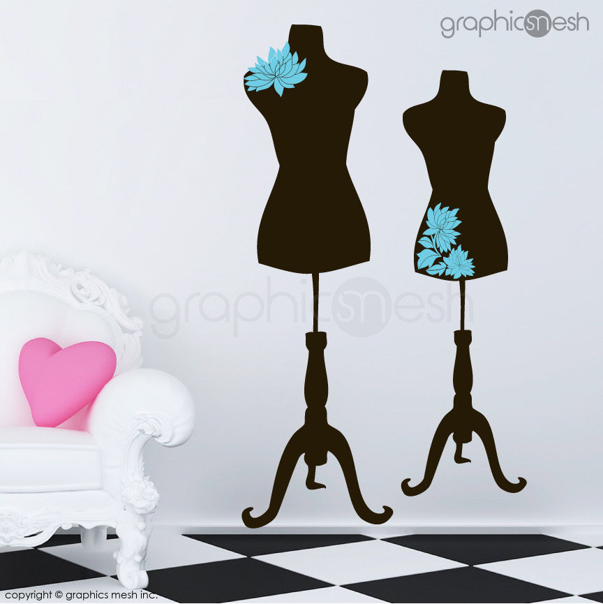 Two Mannequins for tailors with flowers - Dress form wall decals