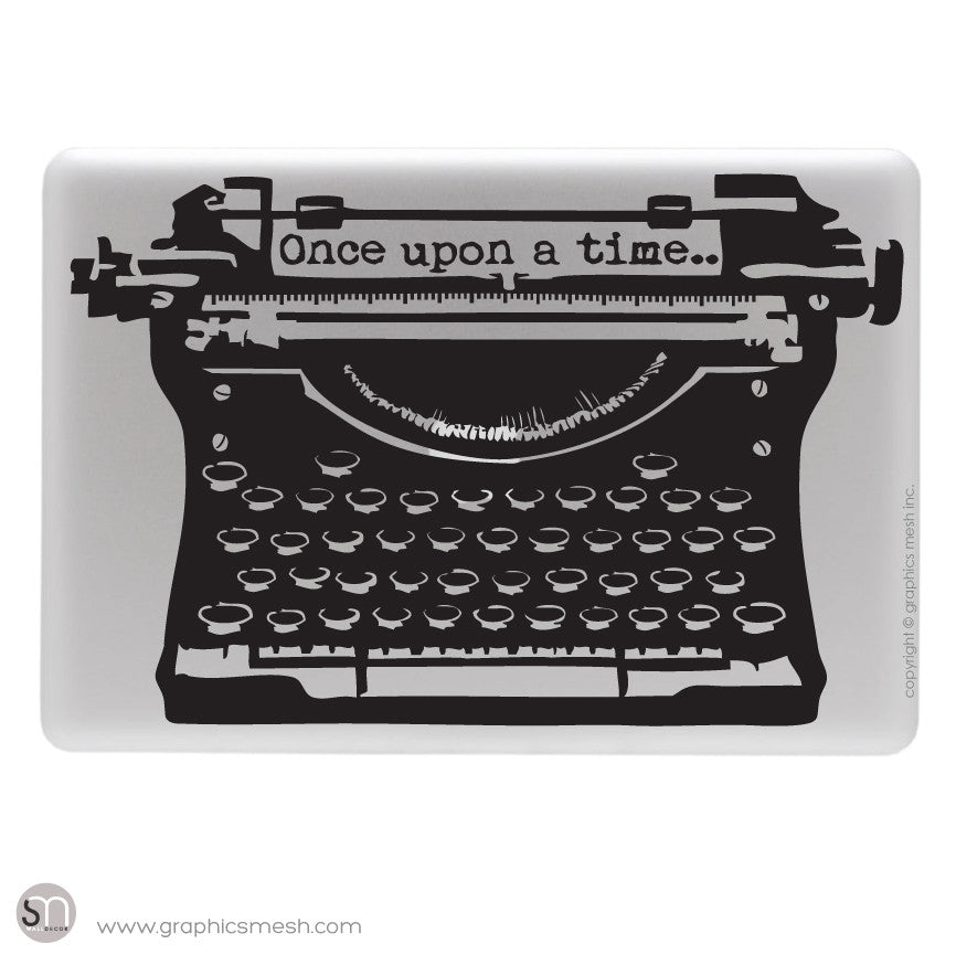 "ANTIQUE TYPEWRITER ""Once upon a time"" lettering - Laptop decal Black"
