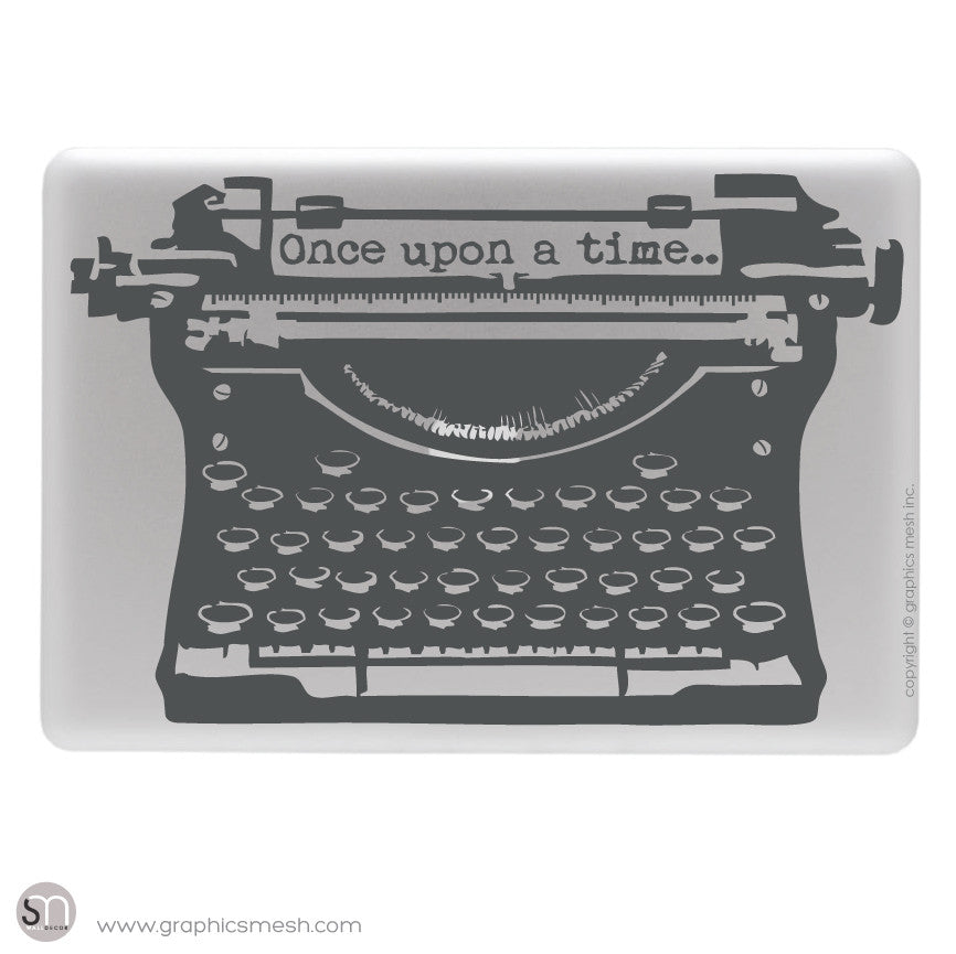 "ANTIQUE TYPEWRITER ""Once upon a time"" lettering - Laptop decal Grey"