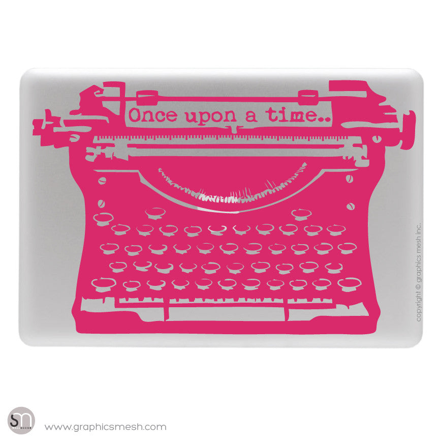 "ANTIQUE TYPEWRITER ""Once upon a time"" lettering - Laptop decal Raspberry"