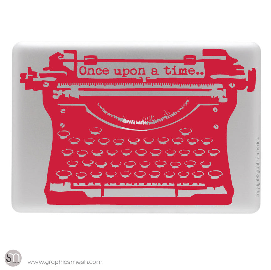 "ANTIQUE TYPEWRITER ""Once upon a time"" lettering - Laptop decal Red"