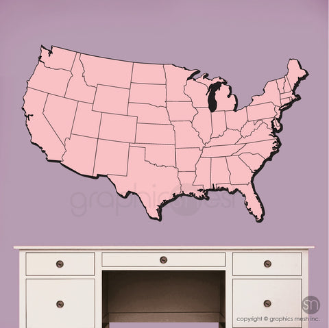 USA MAP DRY ERASE in Pink