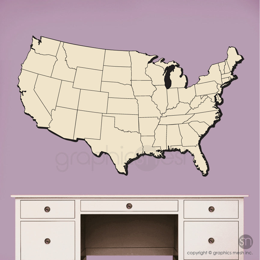 USA MAP DRY ERASE in Beige