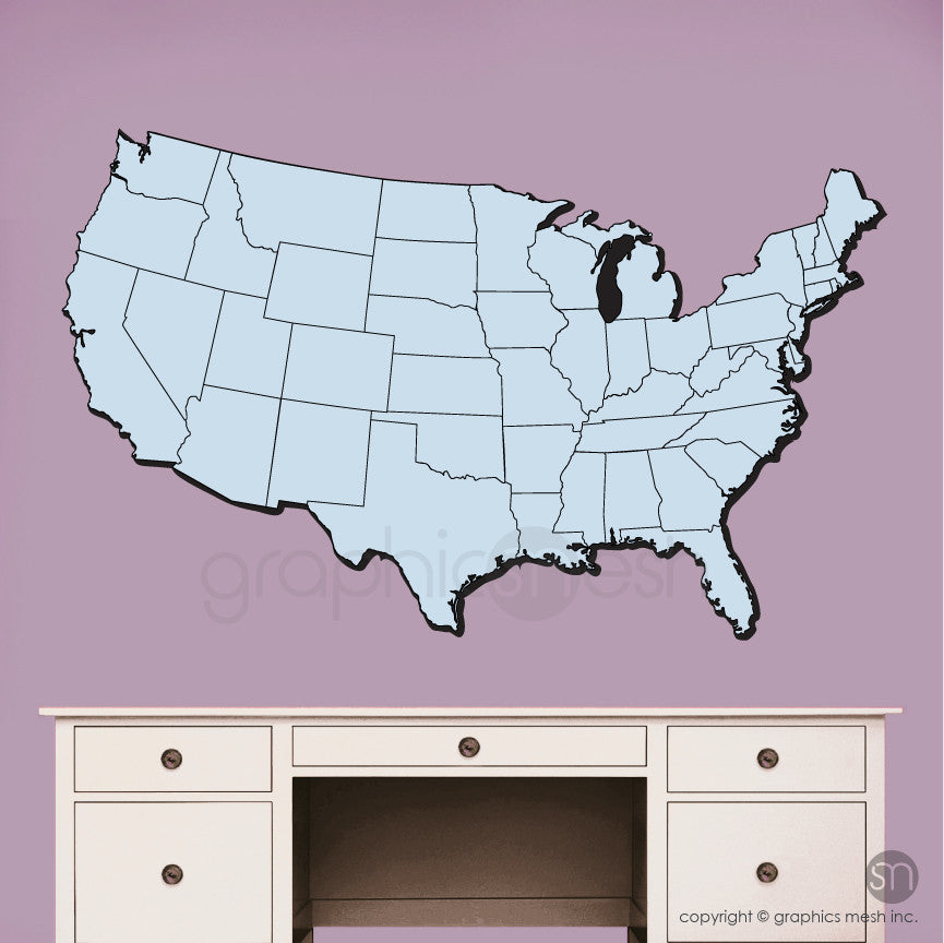 USA MAP DRY ERASE in Blue