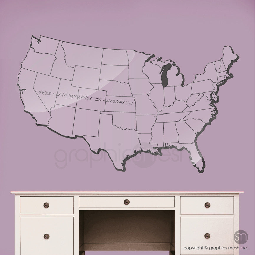 USA MAP DRY ERASE in CLear