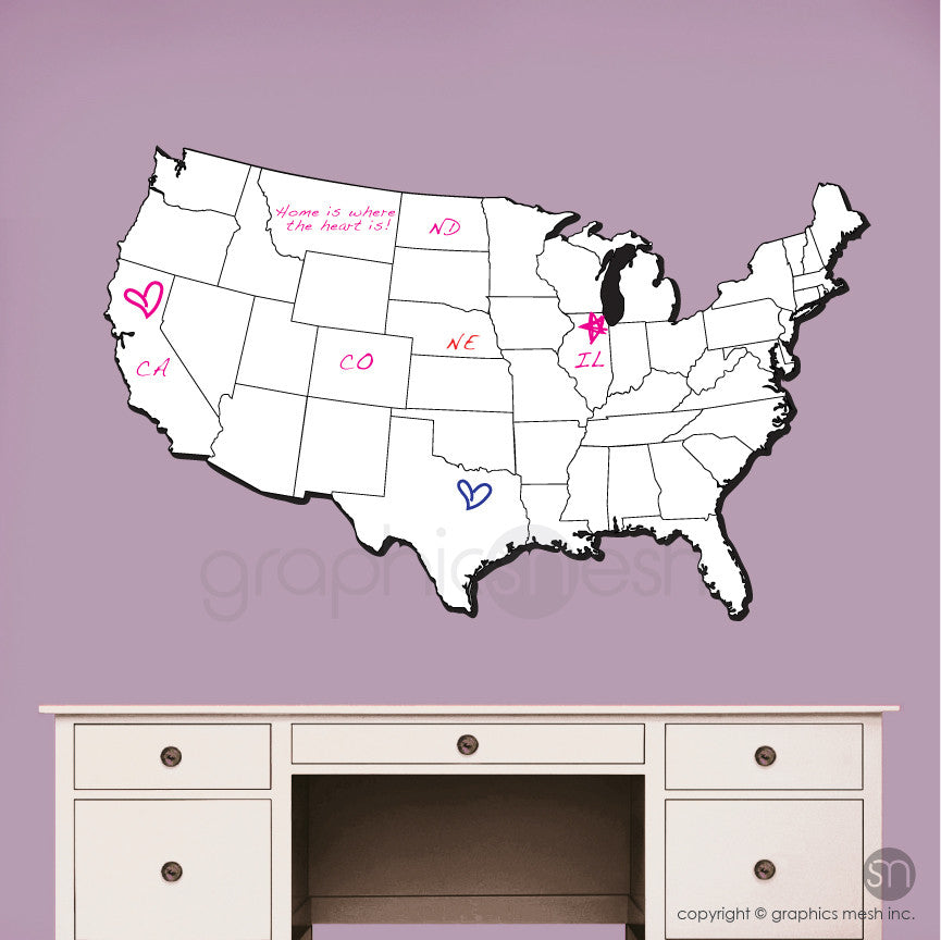 USA MAP DRY ERASE in White erasable decals