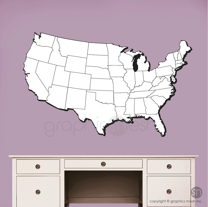 USA MAP DRY ERASE WALL DECAL   ERASABLE SURFACE GRAPHICS