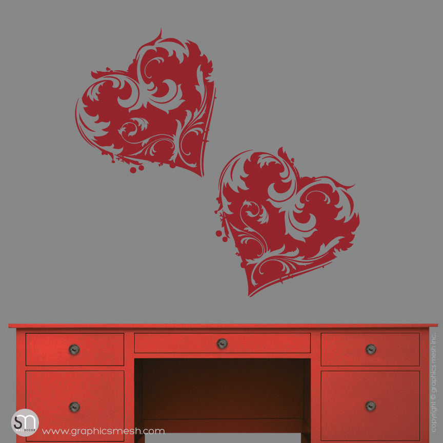 TWO FLORAL HEART - Wall Decals dark red