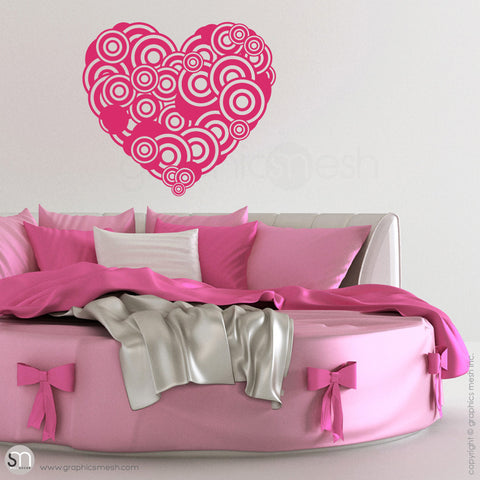 CIRCLES HEART - Wall Decals hot pink