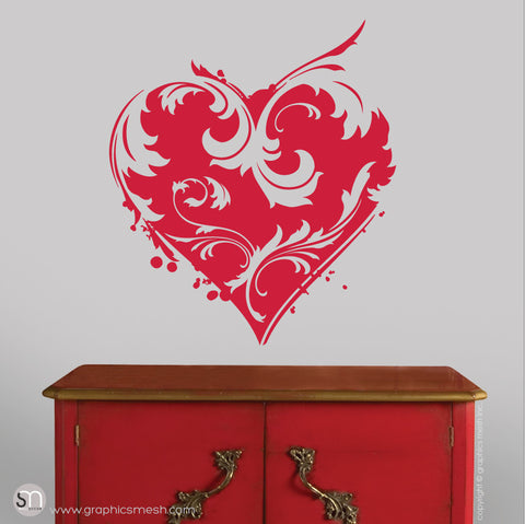 FLORAL HEART - Wall Decals red