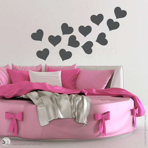 SOLID HEARTS - Wall Decals Pack dark grey