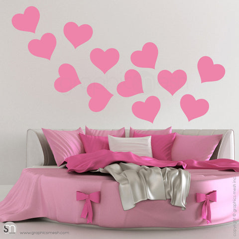 SOLID HEARTS - Wall Decals Pack random pink