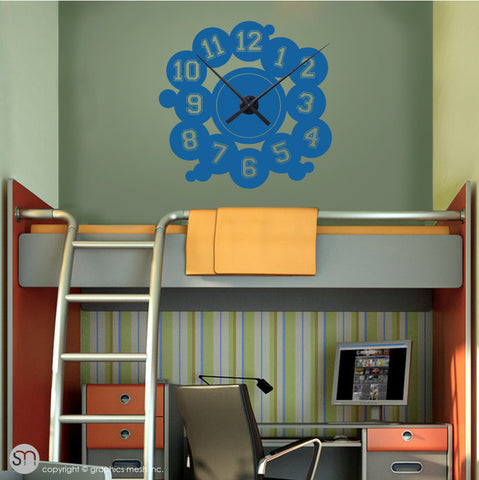 VARSITY NUMBERS - Clock wall decals blue