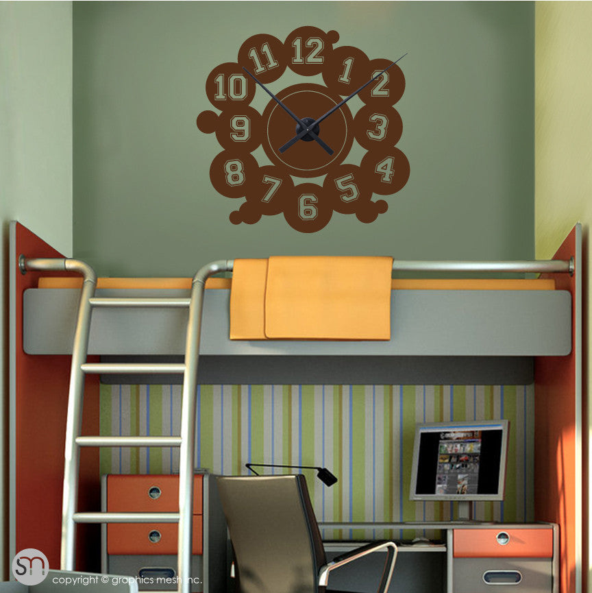 VARSITY NUMBERS - Clock wall decals brown