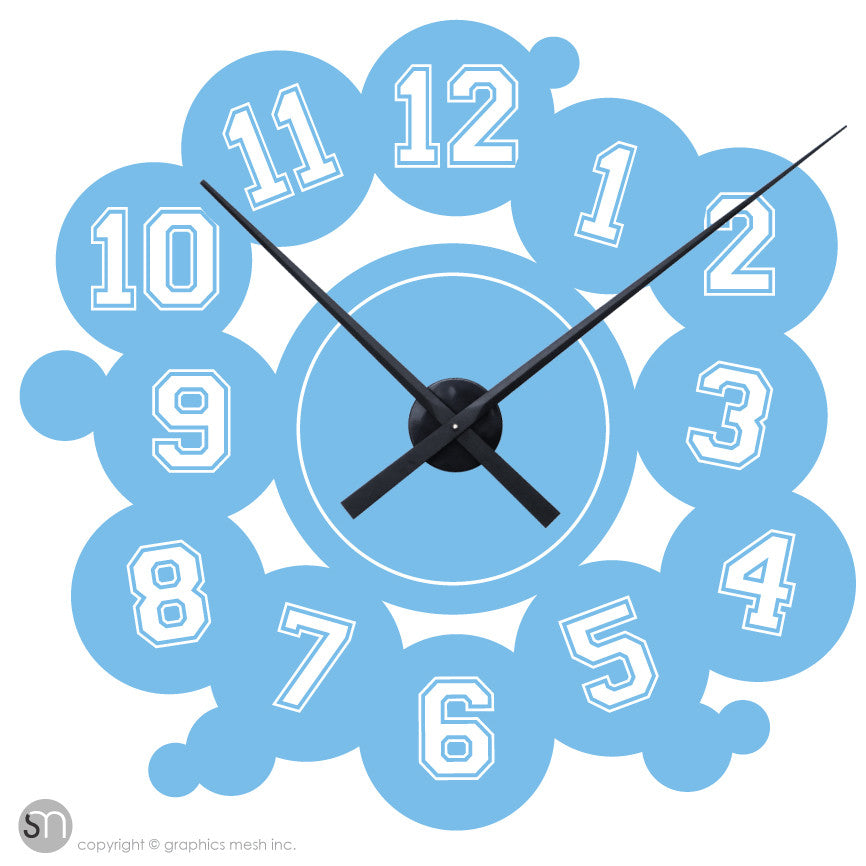 VARSITY NUMBERS - Clock wall decals ice blue