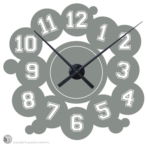 VARSITY NUMBERS - Clock wall decals grey