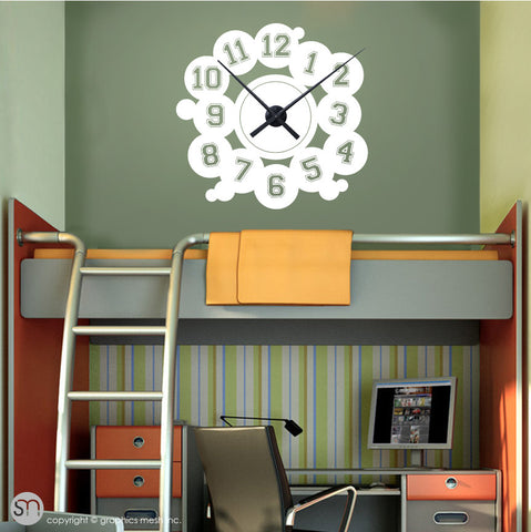 VARSITY NUMBERS - Clock wall decals white