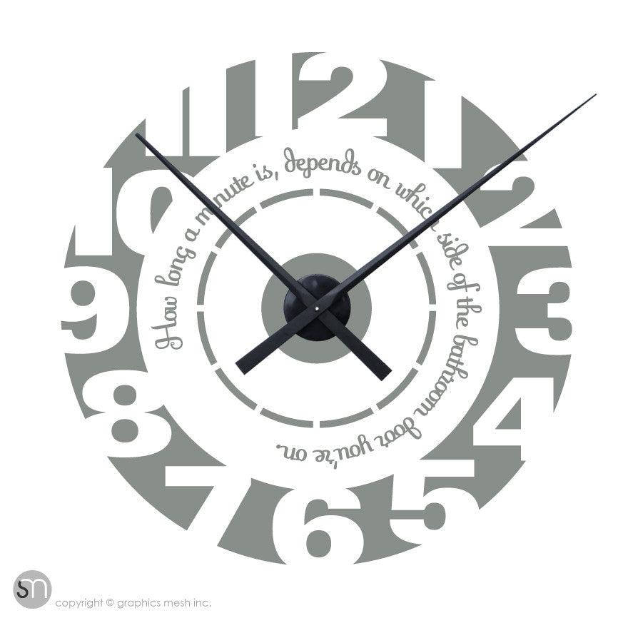 HOW LONG A MINUTE IS DEPENDS ON WHICH SIDE OF THE BATHROOM DOOR YOU'RE ON - clock wall decals