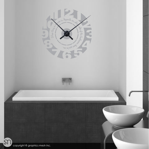 Clock wall decal with quote slate color