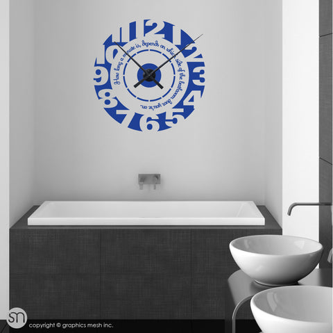 Clock wall decal with quote  navy color