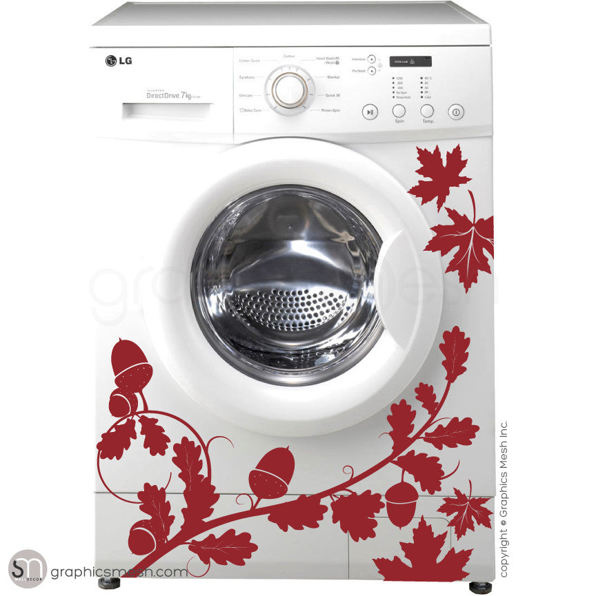 FALL LEAVES WASHER DECOR dark red decals