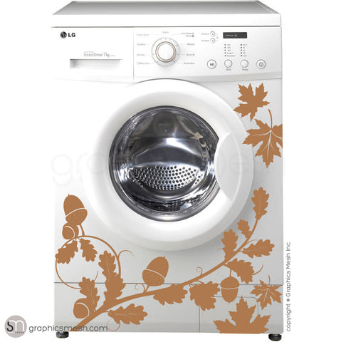 FALL LEAVES WASHER DECOR light brown decals