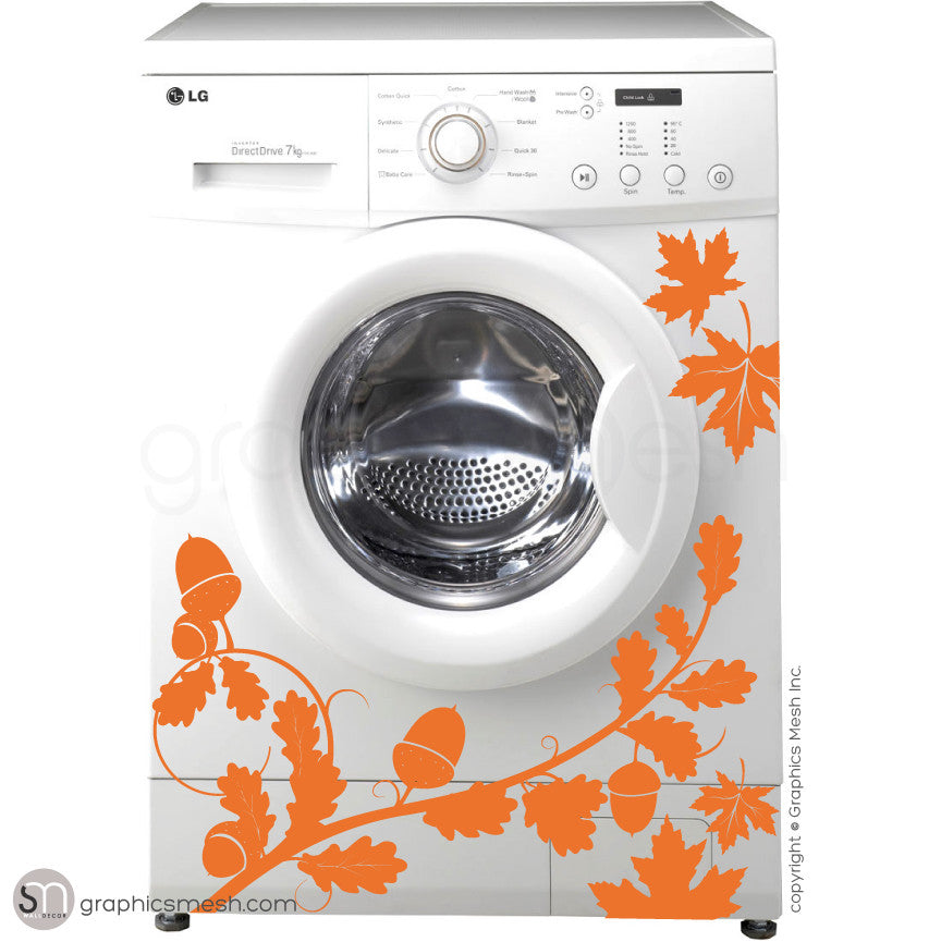 FALL LEAVES WASHER DECOR orange decals