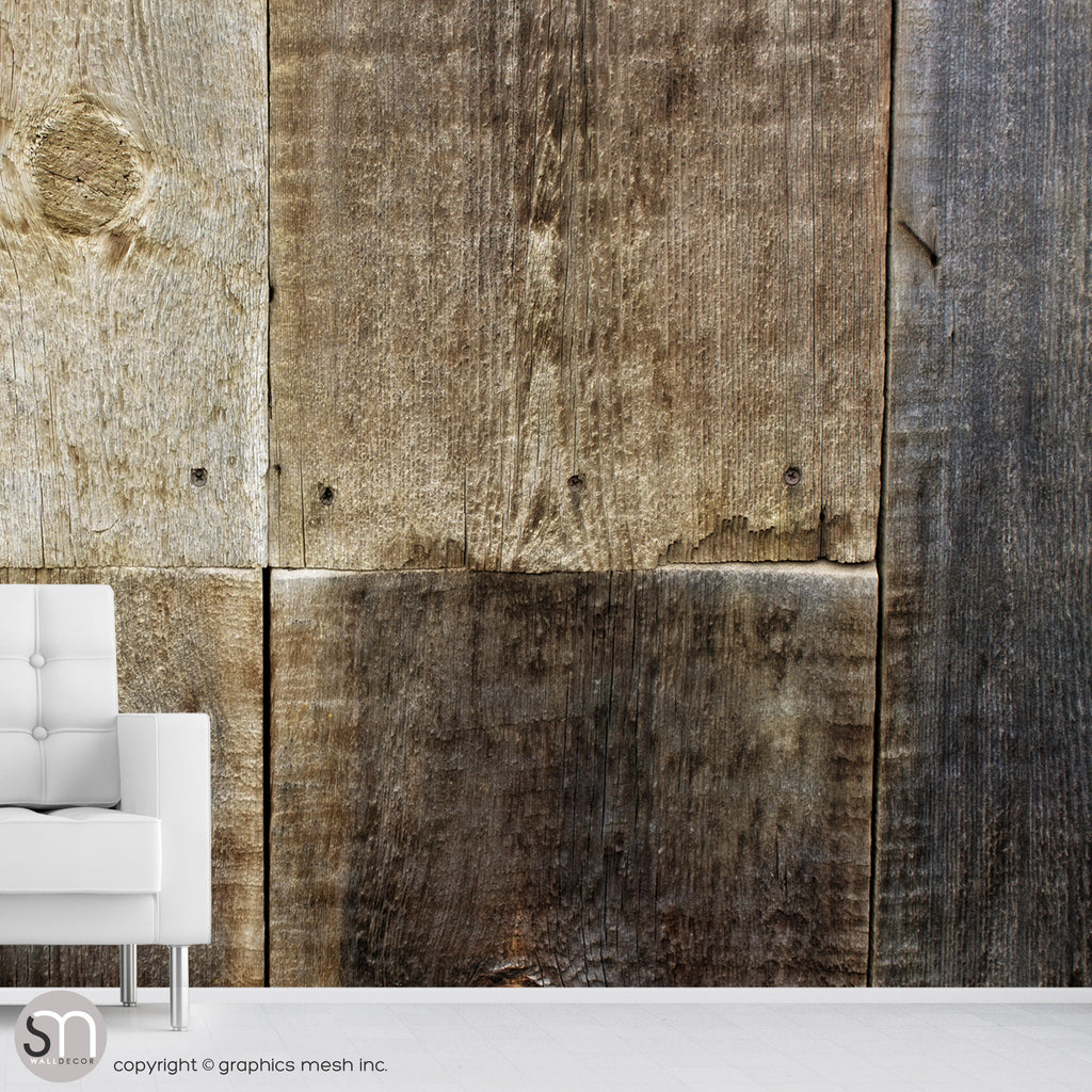 Weathered wood wall mural in living room