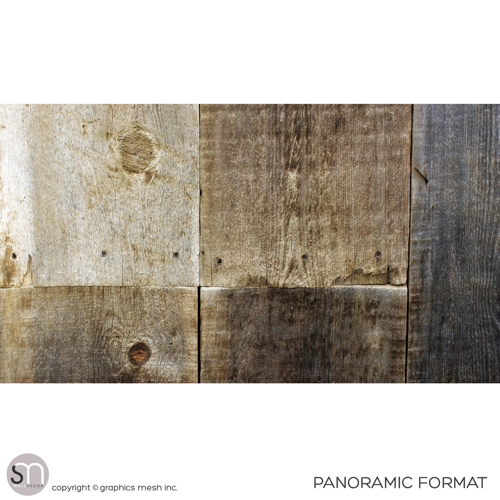 Weathered wood wall mural in panoramic view