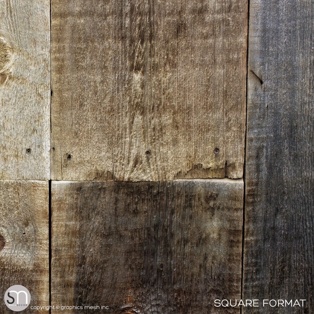 Weathered wood wall mural closeup square format