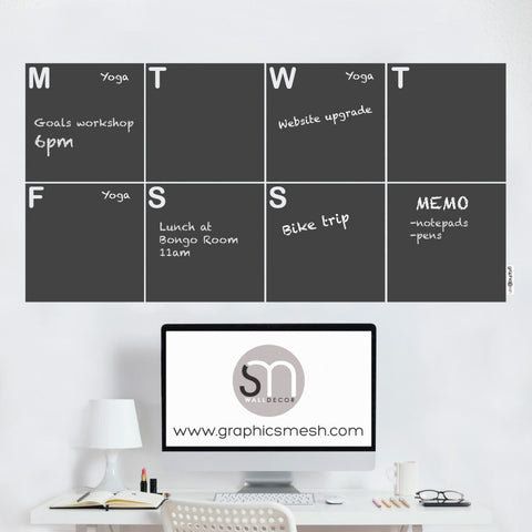 WEEKLY CALENDAR - CHALKBOARD DECALS with chalk writing