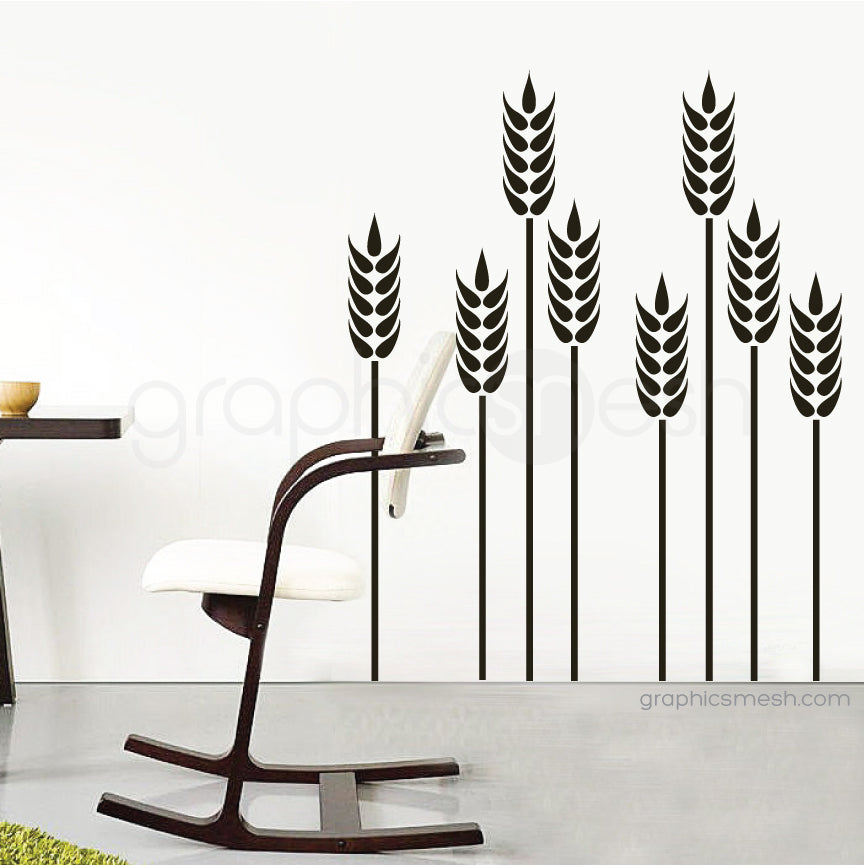 Wheat grass wall decal black