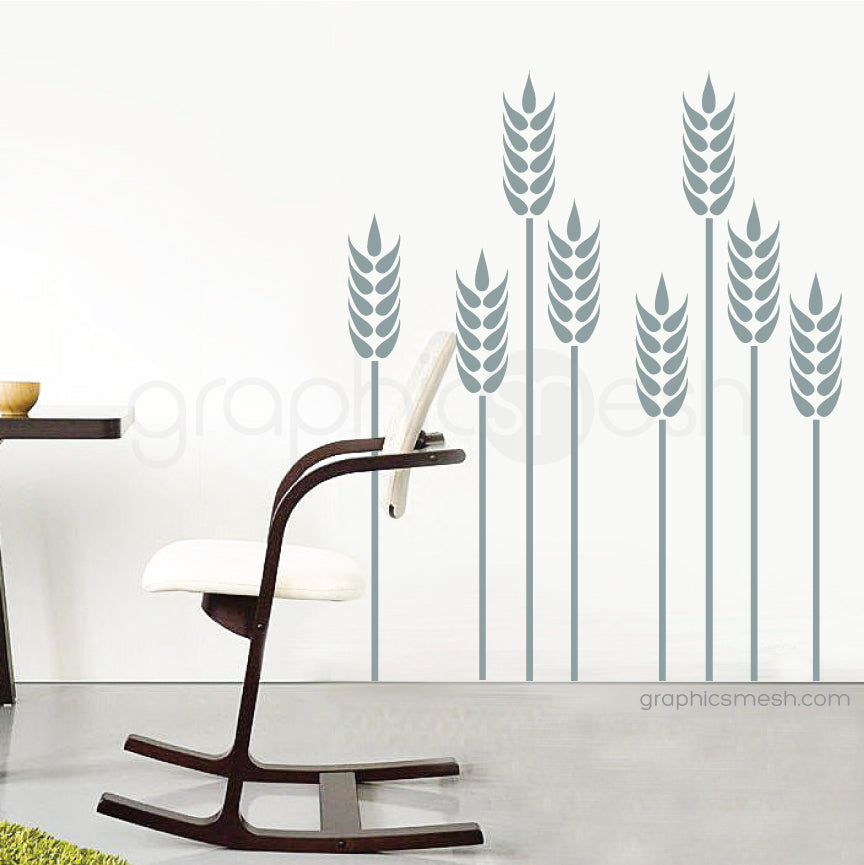 Wheat grass wall decal slate