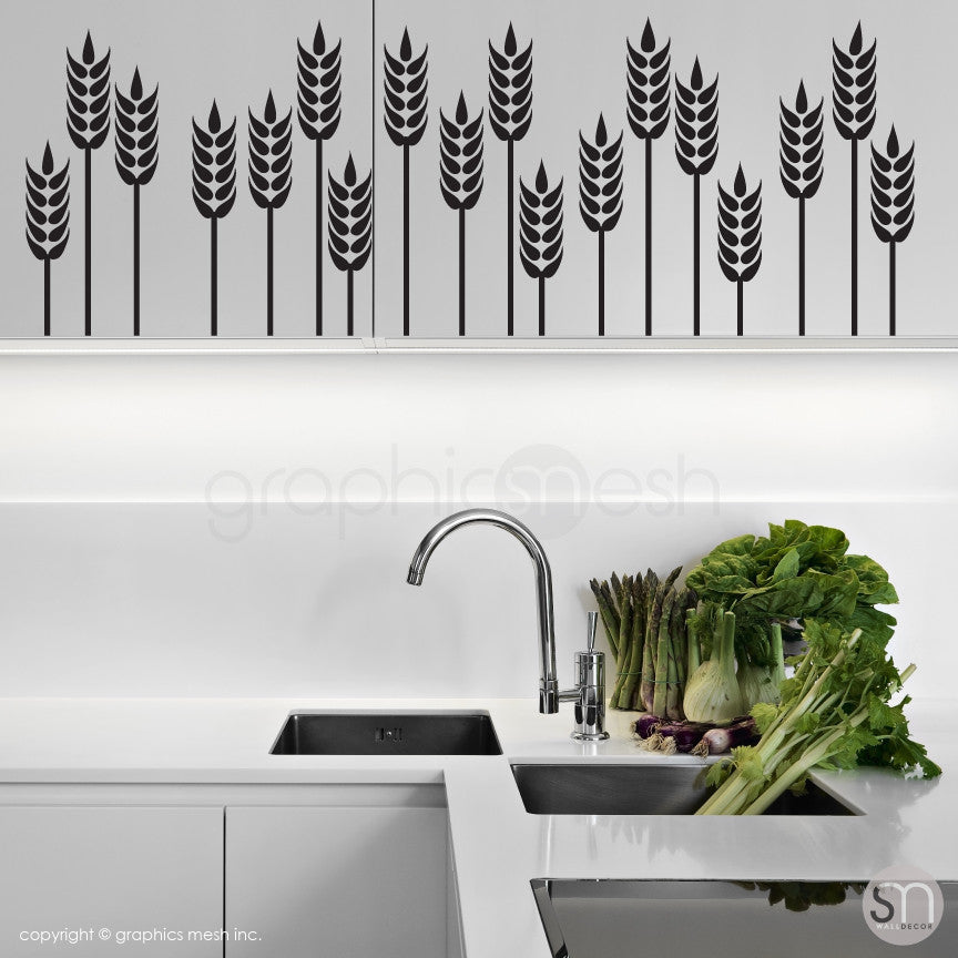 WHEAT GRASS BORDER - Wall Decals black