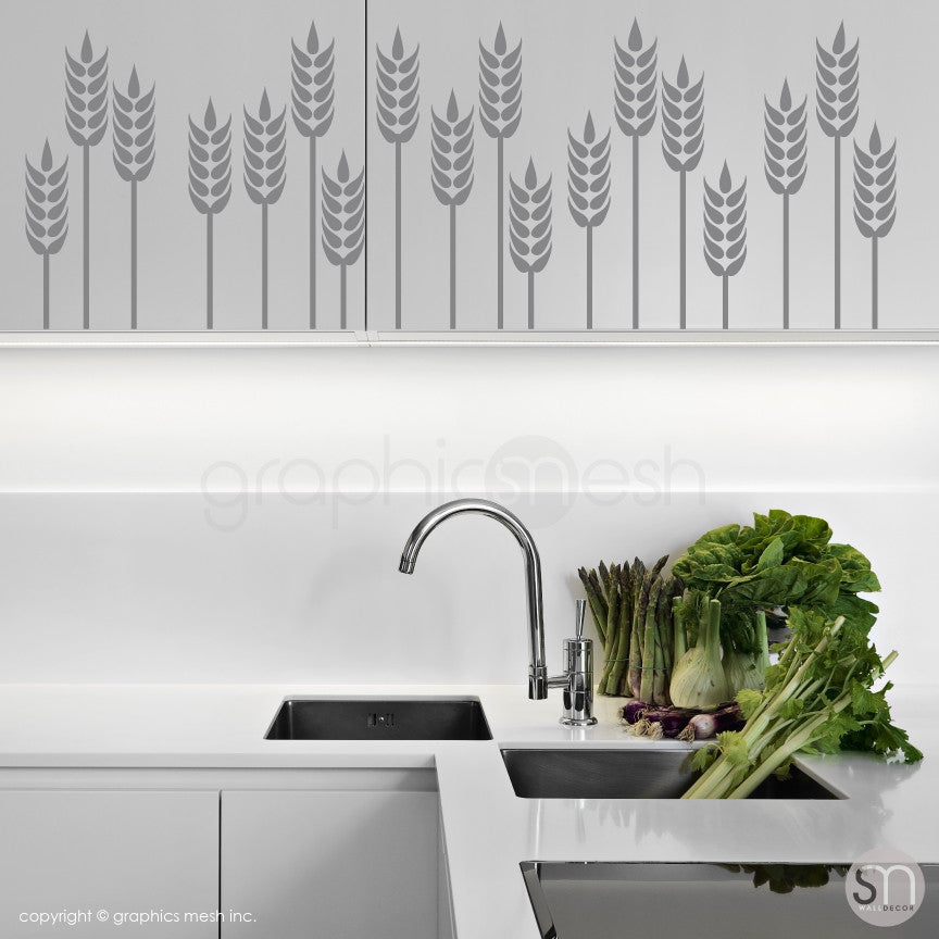 WHEAT GRASS BORDER - Wall Decals grey