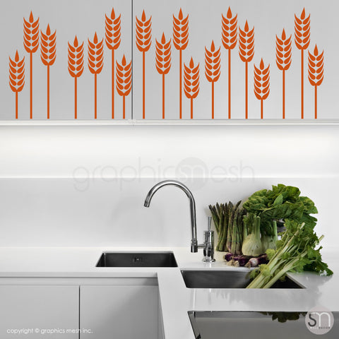 WHEAT GRASS BORDER - Wall Decals nut brown