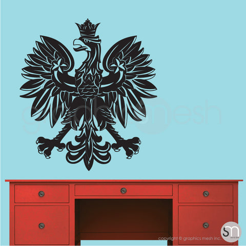 Polish eagle emblem wall decals in black