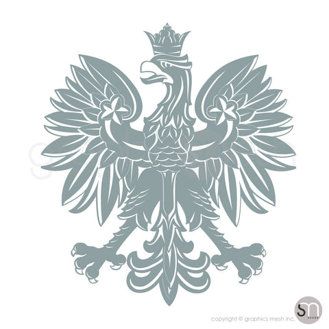 Polish eagle emblem wall decals in grey