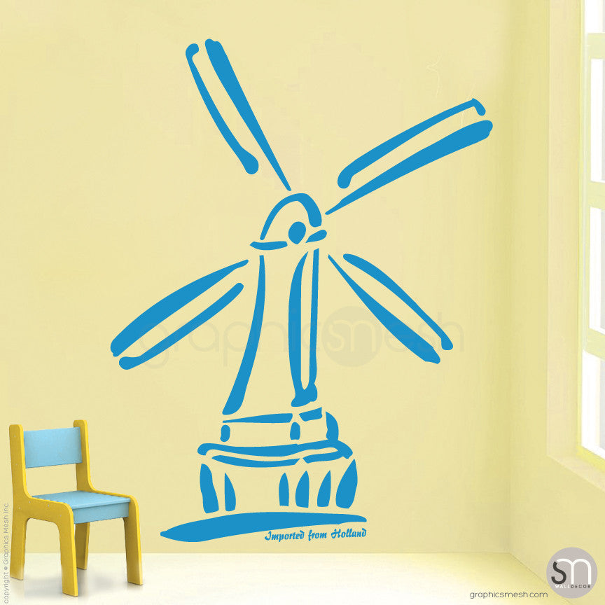 HOLLAND WINDMILL Imported From Holland quote -  Wall decals blue